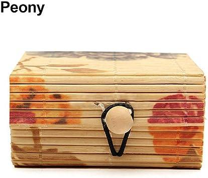 Scatola porta gioielli collane organizer da scrivania Brussels orecchini in legno di bamb/ù stile vintage per anelli con coperchio