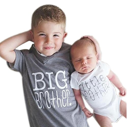 Price comparison product image Muxika Newborn Infant Baby Boy Brother Print Romper & Shirt Family Clothes Outfit (6M,  Little Brother)