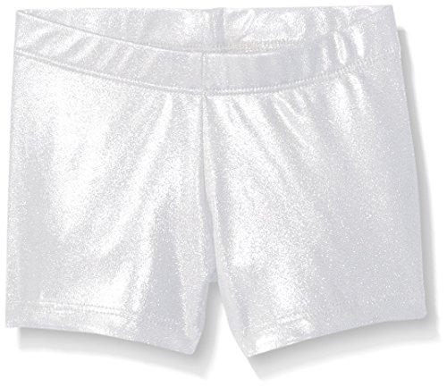 Silver Kids Shorts (Gia Mia Dance Big Girls Metallic Short, Silver, Medium)