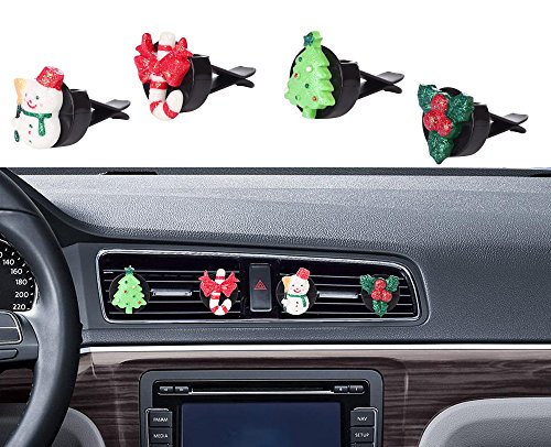 Car Christmas Decorations, Mini-Factory Auto Glitter interior Decor Air Vent Accessories Decorative Bling Parts for Christmas / Winter -