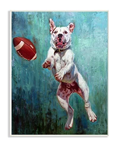 (The Stupell Home Décor Collection Bull Dog Playing Football Airborn Funny Painting Wall Plaque Art 13 x 19 Multi-Color)