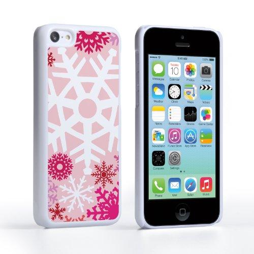 Caseflex iPhone 5C Hülle Rot / Rosa Winter Weihnachten Schneeflocke Muster Hart Schutzhülle