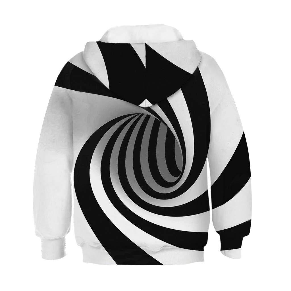 Waymine Kids Girl Boy Long Sleeve Digital Print Sweatshirt Pocket Hoodie Pullover Tops