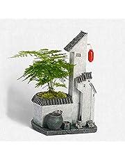 Maceta en Miniatura Edificio Adornos de Resina Zen Simulación de la casa Decoraciones para árboles Muebles de salón de té