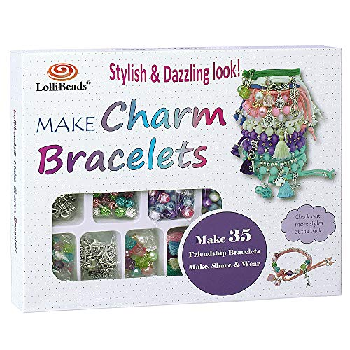 LolliBeads (TM) Make Charm Bracelets Kits 800 pcs Premium Bracelet Jewelry Making Kit Arts and Crafts for Girls Best Birthday/Christmas Gifts/Toys/DIY for Kids Friendship Bracelets Maker]()