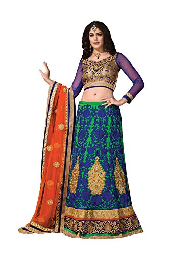 Indian Designer Partywear Ethnic Traditional Blue Lehenga Choli by Dessa Collections