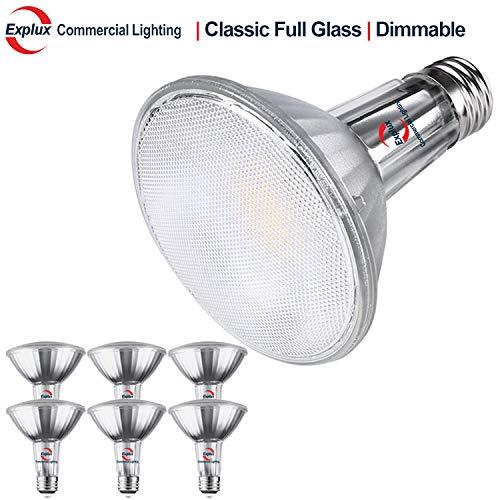 Explux Classic Full-Glass PAR30 Long Neck LED Flood Light Bulbs, Dimmable, 2700K Soft White, Indoor/Outdoor, 75W Equivalent, 6-Pack