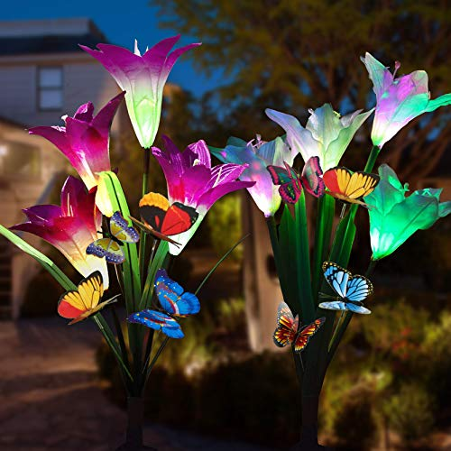 (Adamluvs Solar Lights Outdoor,Solar Flowers, Solar Flower Stake Lights,Color Changing Solar LED Flower Lights with 12 Pcs Butterfly Stakes for Garden, Patio, Backyard Decorating (Purple &)