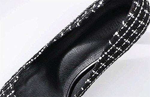 black Tamaño Clover eu39 Aguja Style Tacón Metal a Alto Rhinestone Heavy Sandalias De Verano Zapatos Hippie Blanco Lucky Negro Gran CqUZw