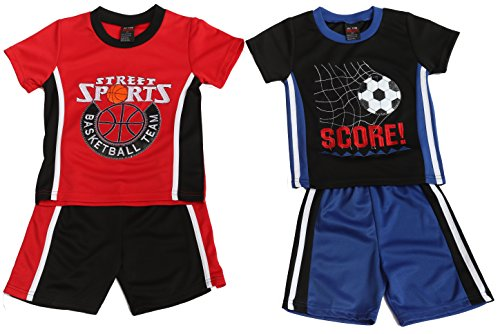 At The Buzzer 44074-12M Two Piece Short Set (Pack of 2) Black/Red