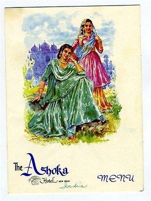 Delhi Cover (The Ashoka Hotel Menu New Delhi India Uttar Pradesh Female Costume Cover)