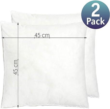 Relleno cojín 45x45 | Relleno almohada. Relleno de fibra hueca, hipoalergénico, indeformable y lavable. 100% poliéster. Varias medidas. (45 x 45 / Pack 2): Amazon.es: Hogar