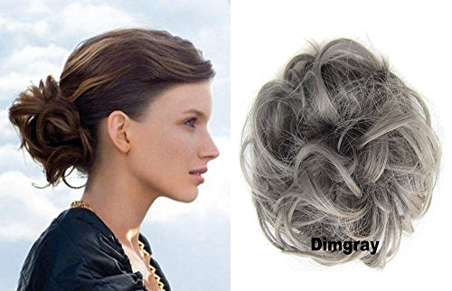 Price comparison product image HI GIRL Short Messy Gray Ladies Elastic Wave Curly Synthetic Hairpieces Scrunchie Wrap Hair Bun Chignon Accessories 30g #Dimgray
