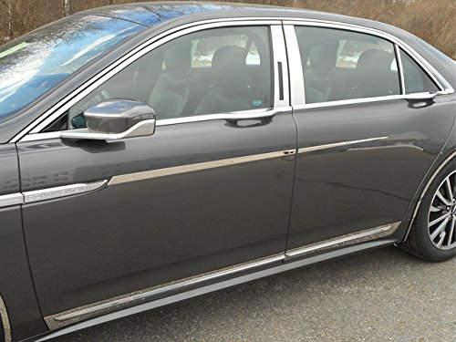 QAA FITS CONTINENTAL 2017-2018 LINCOLN (10 Pc: Stainless Steel Window Trim Package w/Upper Trim & pillar trim, 4-door) WP57680
