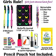 Kids Themed Stationary Accessories-Pencils, Pens, Erasers & 1 Secret Surprise Sack (TM) - Unique Back to School Supplies, Stocking Stuffers, & Easter Basket Fillers (Girls Rule - No Pouch)