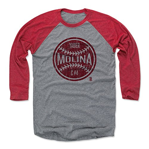 500 LEVEL Yadier Molina Baseball Tee Shirt XXX-Large Red/Heather Gray - St. Louis Baseball Raglan Shirt - Yadier Molina Ball R