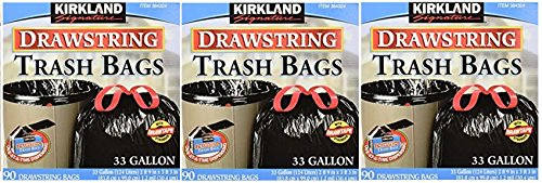 Kirkland Signature Drawstring Trash Bags - 33 Gallon - Xl Size - 3 Pack (90 count) by Kirkland Signature