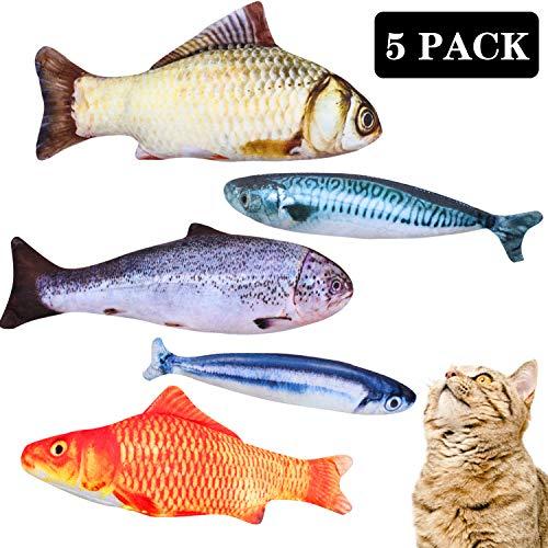 Reastar Spielzeug mit Katzenminze 5 Stück Katze Interaktive Spielzeug Simulation Fisch Katze Fisch Spielzeug Katze Kauen…