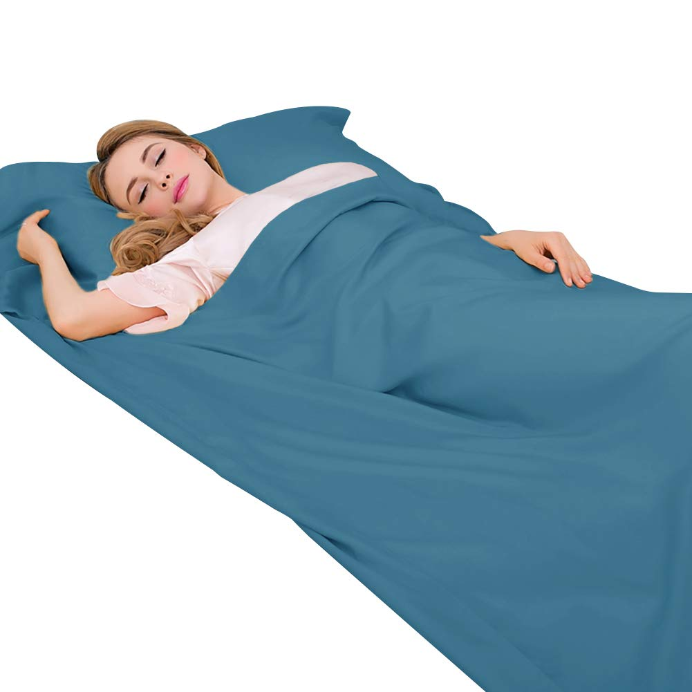 XWetter Sleeping Bag Liner, Traveling and Outdoors Camping Sheet, Lightweight Sleep Bag Liner, Silk Smooth & Breathable Fabric Liner,Camping Gear Equipment,Hotel,Climbing,Hiking by XWetter