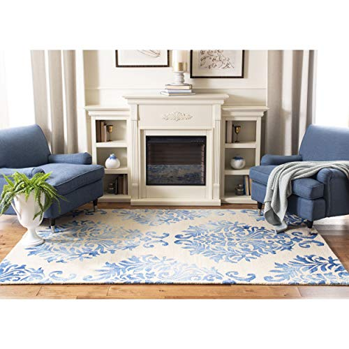 Safavieh Dip Dye Collection DDY516A Handmade Watercolor Vintage Erased Weave Medallions Beige and Blue Wool Area Rug (3' x 5')