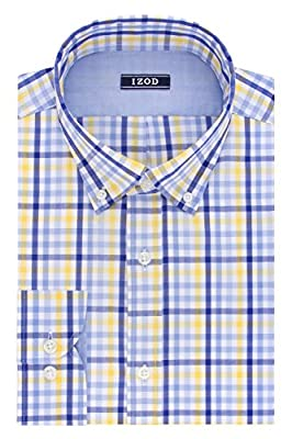 IZOD Men's Slim Fit Exploded Plaid Buttondown Collar Dress Shirt