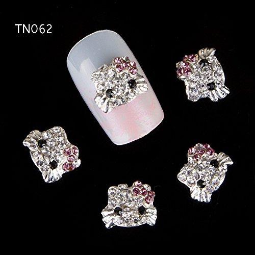10pcs Glitter Kitty cat Rhinestones 3d Nail Art