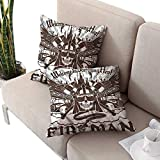cobeDecor Fireman Square Pillowcases Monochrome Fire Engines Cushion Case for Sofa,Bed 16'x16'x2pack