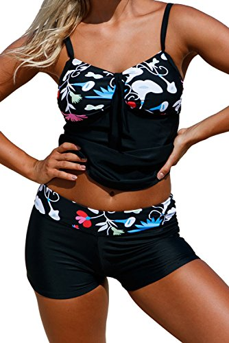 Alvaq Women Cute Sexy Double Up 2 Piece Swimsuits Padded Bathing Suit Plus Size Tanki With Shorts Xl Black