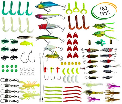 - Steady Essentials Fishing Tackle Beginner Kit (183 Pcs!!) Assortment, Novice, Bass Worms, Lure Trout, Salmon, Catfish, Metal Hooks, Includes Crankbaits, Bait Jigs, Spoons, Trout Spinner, Soft Plastic