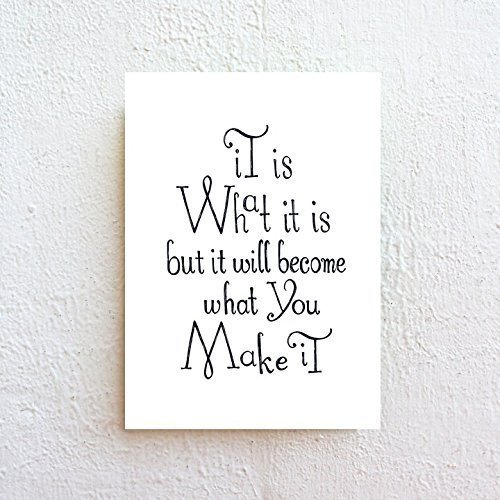 It Is What It Is - Inspirational Quote Print - Black Letter Typography on Natural White Fine Art Paper by SimpleSerene