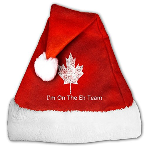 BAB PLOF I'm On The EH Team Canada Canadian Christmas Hat Or Nice Festive Holiday Hat For Childrens and Adults Pleuche Santa Hat - Tiger Lily Costume Toddler