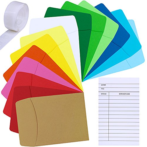 Supla 42 Set 14 Colors Small Envelopes Mini Envelopes Library Pockets with Library Index Cards - Non-Adhesive-3.5