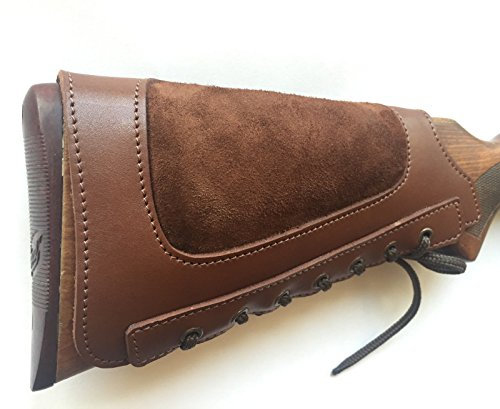 vsdfvsdfv Real Leather Rifle Ammo Cartridge Buttstock Holder Cover Cheek Rest Padded (Brown, right) Buttstock Cover