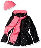 Pink Platinum Girls' Foil Star Puffer with Hat and Scarf