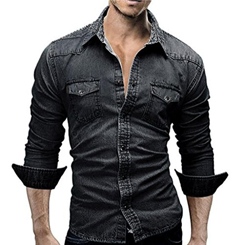 Men's Shirts ,kaifongfu Retro Denim Shirt Cowboy Blouse Slim Thin Long Tops Blouse (Black, L)