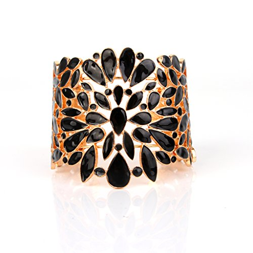Edress Vintage Lace Bangles&Bracelets Black And Gold Pattern Hollow Out Cuff Womens Fashion Jewelry 7''