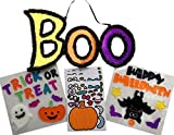 scary halloween decorating ideas Halloween Decorations Kit - 2 Sets of Window Gel Clings, Shimmery Boo Sign, Pumpkin Stickers - All in a fun Bundle