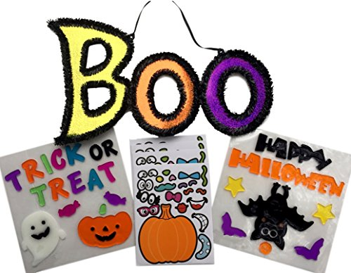 Halloween Decorations Kit - 2 Sets of Window Gel Clings, Shimmery Boo Sign, Pumpkin Stickers - All in a fun Bundle -