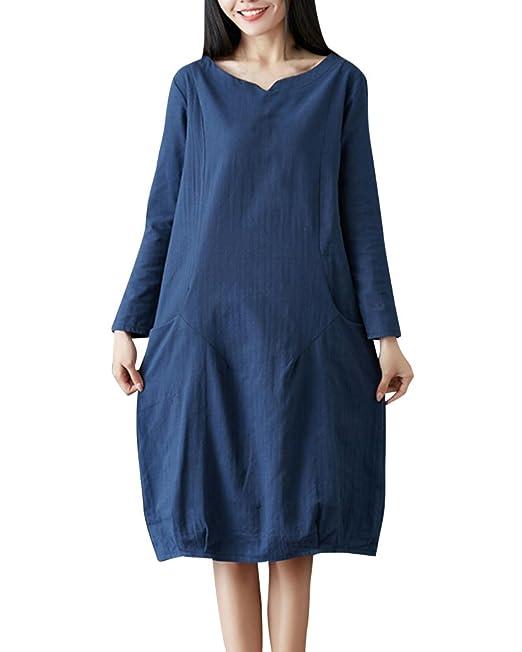 Mujer Vestido De Color Sólido Vintage Tallas Grandes Vestidos Mangas Largas Azul zafiro 3XL