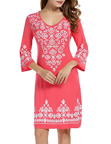 HOTOUCH Bohemian Back V Neck Vintage Printed Ethnic Summer Shift Tunic Dress Coral XXL