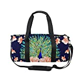U LIFE Vintage Peacock Feather Floral Sports Gym Shoulder Handy Duffel Bag