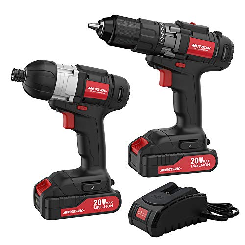 Meterk 20V Max Cordless Drill Driver and Impact Driver Set, 1/2″ Chuck Max 35 N.m Drill Driver, 1/4″Hex Max 150 N.m Impact Driver, 2 pcs Lithium-Ion Batteries and 1 Hr Fast Charger
