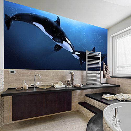 Killer Whale Wall Mural Under The Sea Animal Photo Wallpaper Bathroom Kids Decor available in 8 Sizes X-Small Digital (Whale Mural)