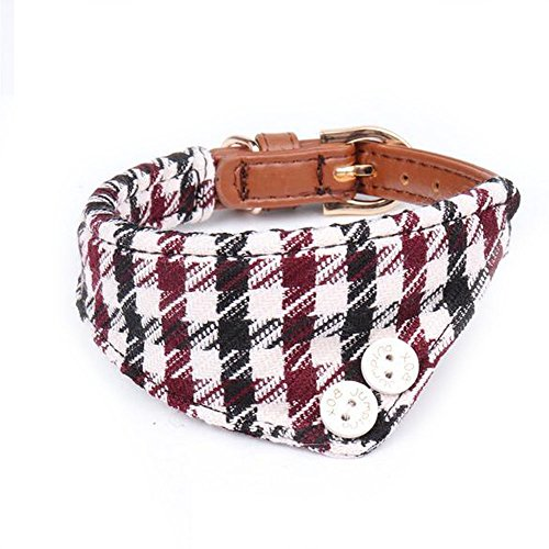 (herohua Dog Bandana Triangle Wine Red Checked Scarfs Accessories for Pet Cats and Puppies)