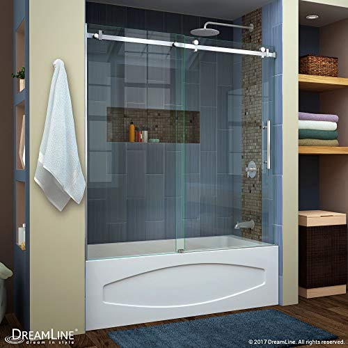 DreamLine Enigma Air 56-60 in. W x 62 in. H Frameless Sliding Tub Door in Brushed Stainless Steel, SHDR-64606210-07 (Stainless Steel U Channel For 10mm Glass)