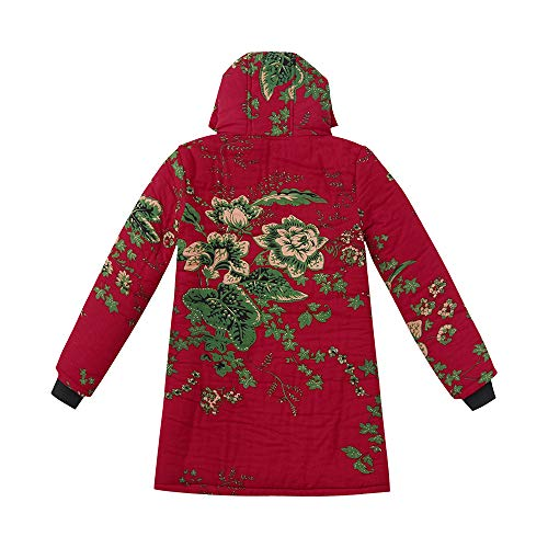Trench Coats Special Coats for Women Temperament Outwear Floral Print Hooded Pockets Vintage Oversize Coats Red