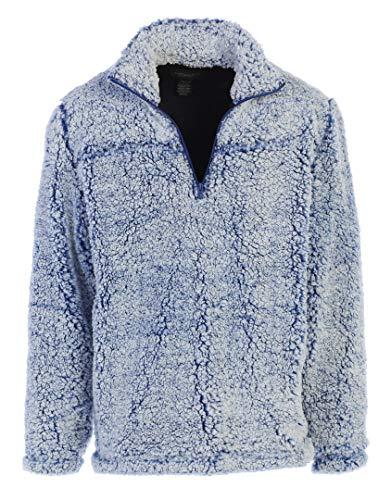Gioberti Men and Women Super Soft Sherpa 1/4 Zip Pullover Sweater, Vintage Navy, Size Medium