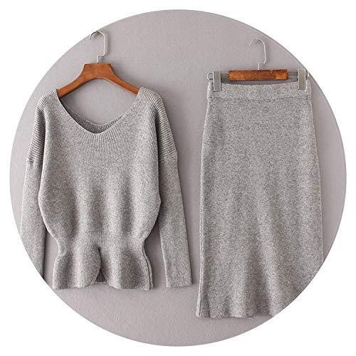 (Robert Reyna Nice Women Sweater Pullover+Knee Skirt High Waist Knitted Suit,OneSize,Grey)