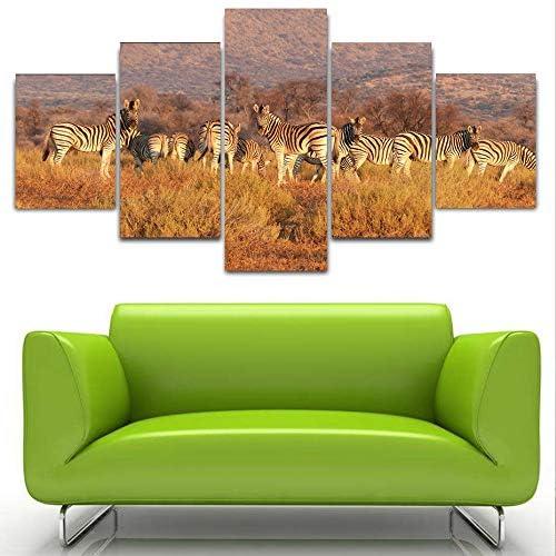 KANGZEDT Pintura sobre lienzo - 5 piezas 200*100CM Cebra animal Cuadro en Lienzo - Abstracto Impresión de 5 Piezas Material Tejido no Tejido Impresión Artística Imagen Gráfica Decoracion de Pared Cuad