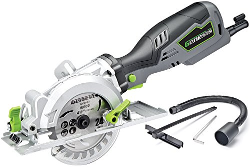 Natural Wood Dual Track - Genesis GCS545C 5.8 Amp 120 Volt 4-1/2 in. Control Grip Compact Circular Saw with Vacuum Adapter, Blade Wrench, and 24T Carbide Tipped Blade